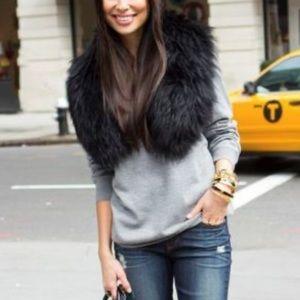 Black faux fur stole
